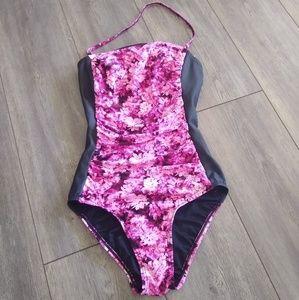 MICHAEL Michael Kors pink floral halter monokini